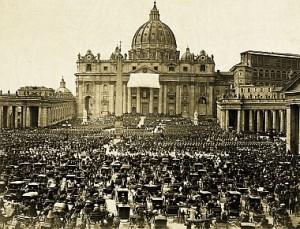 Praça de São Pedro, 18 de julho de 1870: nesse dia tão importante para a História da Igreja e dos homens, o Papa Pio IX proclama o dogma da infalibilidade pontifícia, confirmando solenemente a suprema autoridade apostólica do Vigário de Cristo